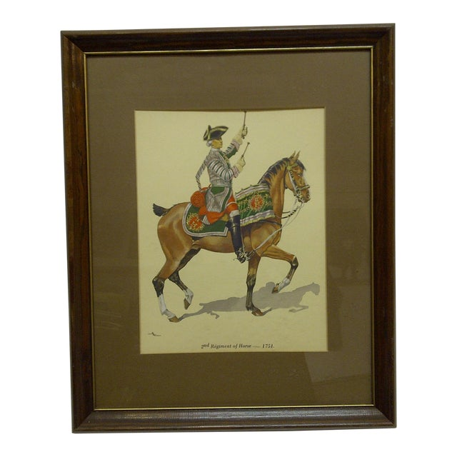 """2nd Regiment of Horse - 1751"" Framed & Matted Color Print For Sale"