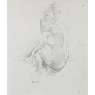 Posing Female Nude, Graphite on Paper, Late 20th Century, Artist: Anna Poole For Sale