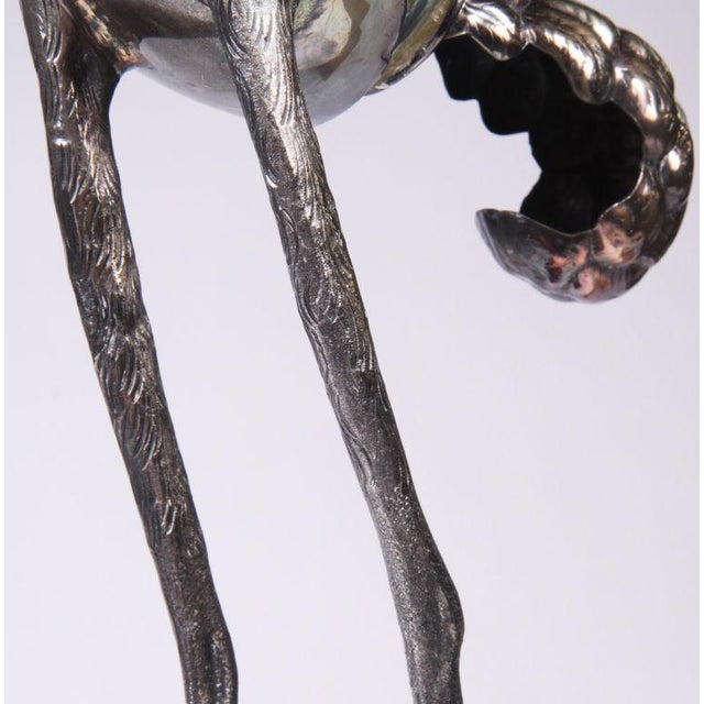 1970s Franco Lafini Silver Plate & Crystal Crane For Sale - Image 5 of 7