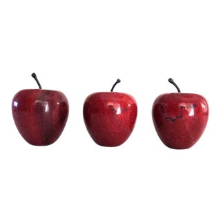20th Century Raspberry Red Marble Stone Apples - Set of 3 For Sale