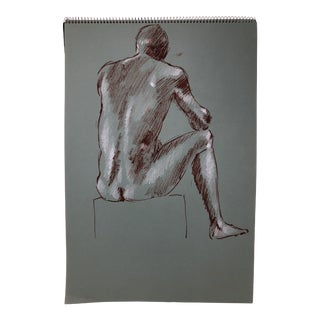 17 Mid Century Charcoal Nudes and Portraits Sketchbook by John P. Coleman For Sale