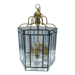 Mid-Century Iron and Brass Hexagonal Beveled Glass Pendant Chandelier by Carson Lighting Inc For Sale