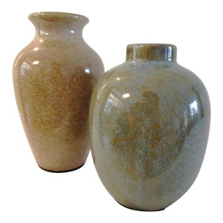 1980s Vintage Japanese Earth-Tone Pottery Vases - a Pair For Sale