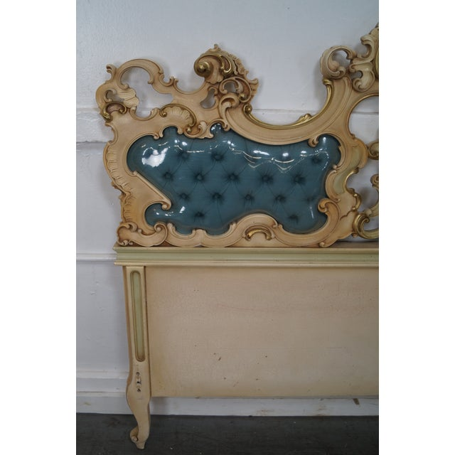 Vintage Italian Rococo Style Carved Wood Queen Size