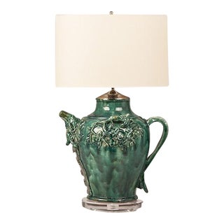 Green Glazed Vintage Chinese Pottery Vessel now Mounted on a Custom Lucite Base and Wired as a Lamp
