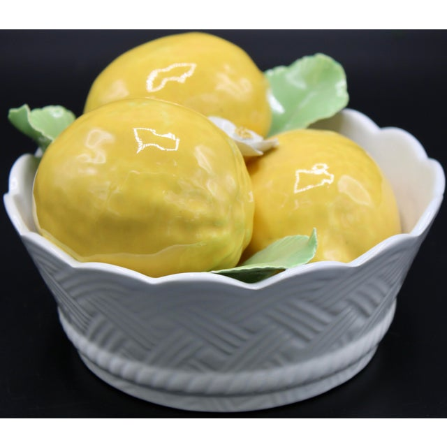Italian Ceramic Round Lemon Basket For Sale - Image 6 of 11