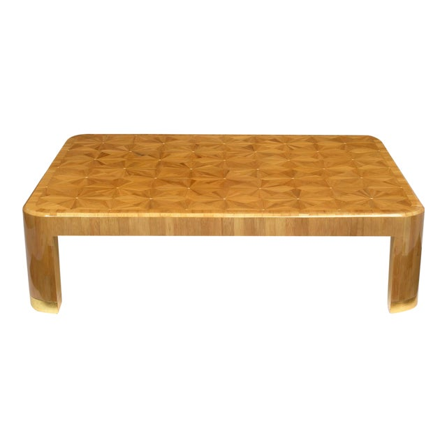 Ron Seff Starburst Bamboo Marquetry Cocktail Table ca. 1980 For Sale