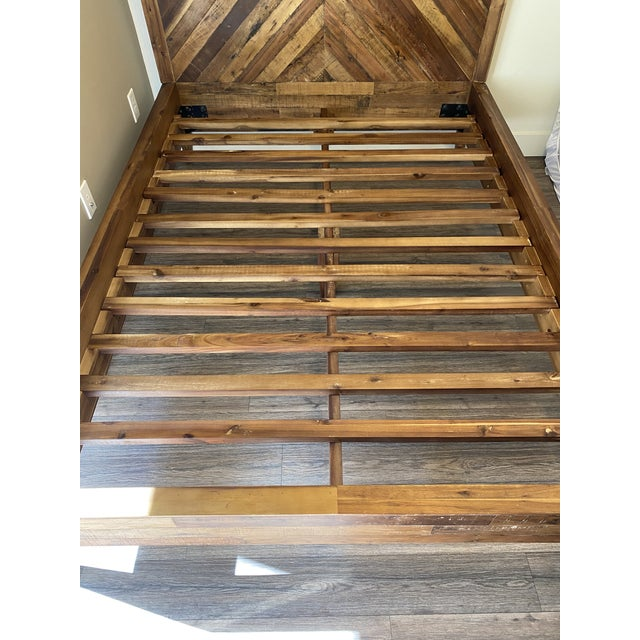 West Elm West Elm Full Alexa Reclaimed Wood Bedframe For Sale - Image 4 of 5
