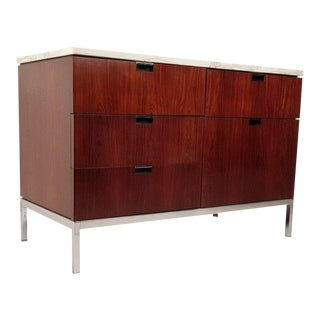 Florence Knoll Brazilian Rosewood and Calcutta Marble Credenza For Sale