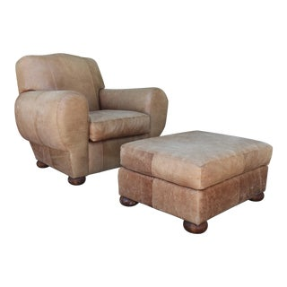 Vintage Leather Club Chair and Ottoman Set For Sale