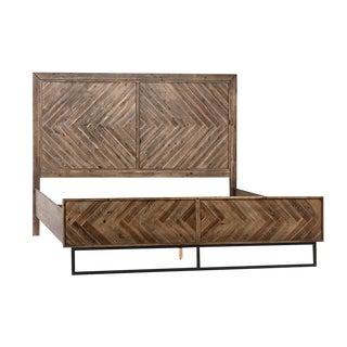 Herringbone Medium Wood Eastern King Bed For Sale
