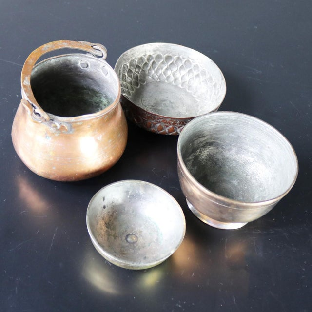 Antique Hand-forged Turkish Copper and Brass Bowls - Set of 4 For Sale - Image 11 of 13