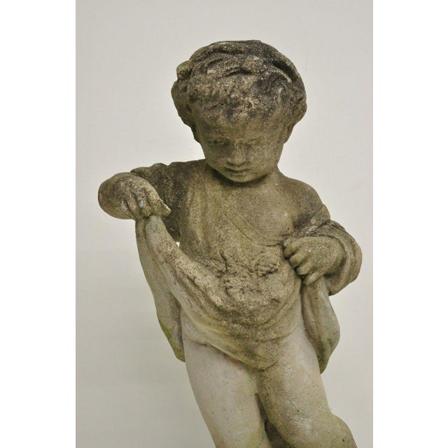 American Pair of Concrete Four Seasons Style Baby Cherub Cement Garden Sculptures For Sale - Image 3 of 12