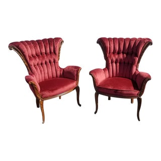 1950s Antique Wingback Tufted Parlor Chairs- A Pair For Sale