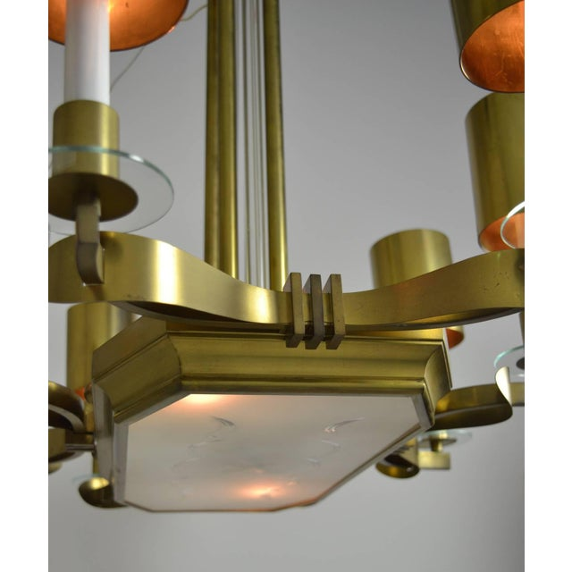 Large Art Deco Style Modernist Chandelier For Sale - Image 10 of 11