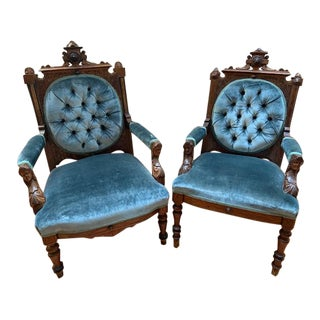 Renaissance Style John Jelliff Carved Ornate Chairs Newly Upholstered - Pair For Sale