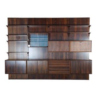 Rosewood Shelving System Wall Unit by Poul Cadovius For Sale