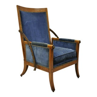 19th Century Italian Biedermeier Mahogany Reclining Lounge Armchair Cast Iron Hardware For Sale