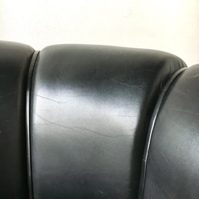 Black Leather Danish Sofa Designed by Illum Wikkelso 1950s For Sale - Image 6 of 7