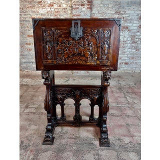 1920s Spanish Revival Beautiful Carved Vargueno on Stand Preview