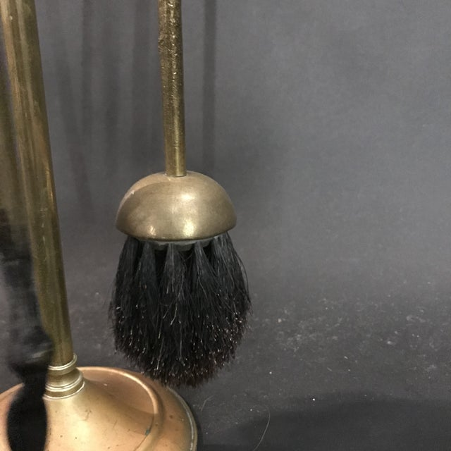 1950s 1950's Three Piece Set of Brass Over Cast Iron Fireplace Tools with Stand - 4 Pieces For Sale - Image 5 of 10