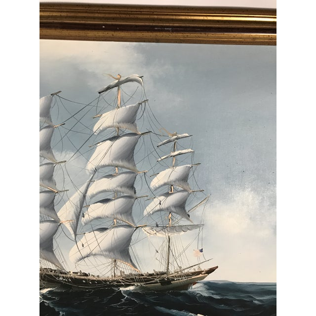 Large Sailing Ship Painting For Sale - Image 4 of 13