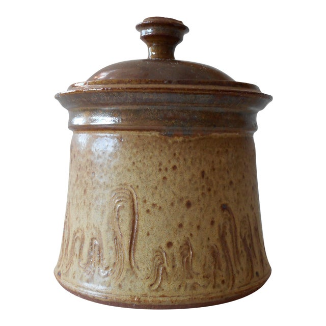 Covered Pottery Canister - Image 1 of 6