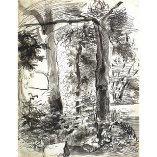 Central Park Study 1940-60s Ink Drawing For Sale