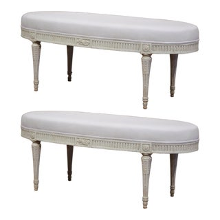 19th Century French Louis XVI Carved Painted Upholstered Oval Benches - A Pair