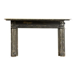 Federal Style Extra Wide Distressed Gray Wood Mantel For Sale