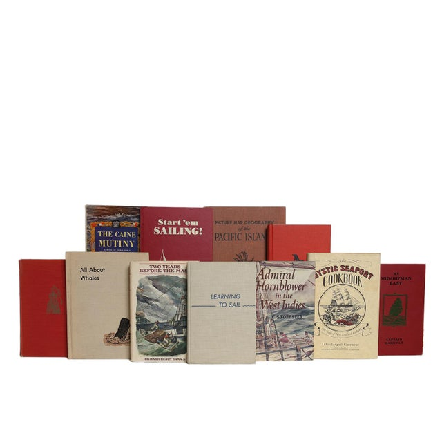 Red & Tan Coastal Collection - Twenty Decorative Books. Twenty midcentury era books featuring a collection of fiction and...