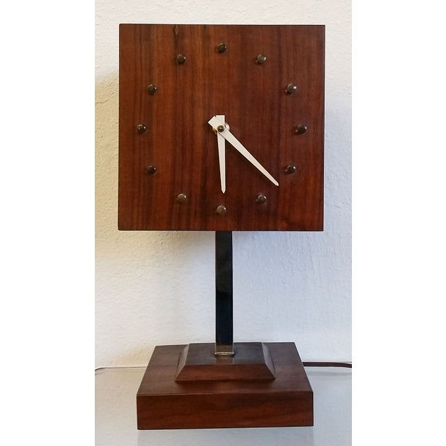 Mid Century Nelson Style Walnut Table Clock For Sale In Los Angeles - Image 6 of 7