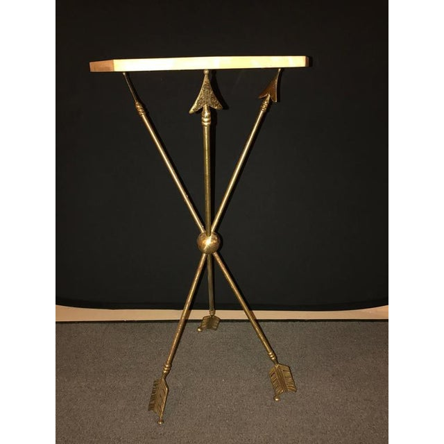 Arrow Form Bronze End Table Base or Pedestal on Tri Pod Legs For Sale - Image 4 of 11