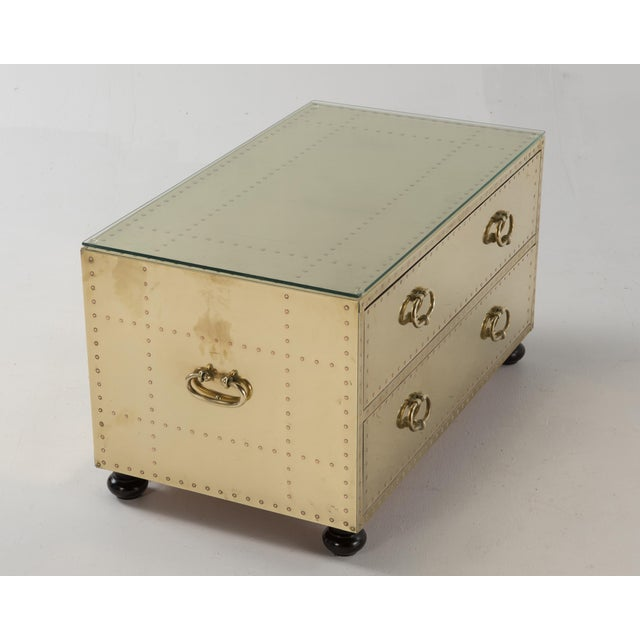 1970s Spanish Sarreid Brass Clad Two-Drawer Chest For Sale In Philadelphia - Image 6 of 13