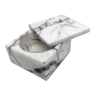 Italian Gray and White Alabaster Swivel Top Box For Sale