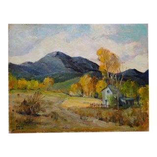 1960s Vintage Walt Lee Blaze of Autumn Plein Air Painting For Sale
