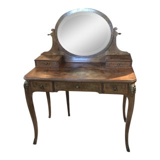 Antique French Inlaid and Burled Walnut Dressing Table Vanity For Sale