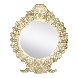 Art Nouveau Cast Iron Table Mirror, Vanity Mirror With Distressed Finish For Sale