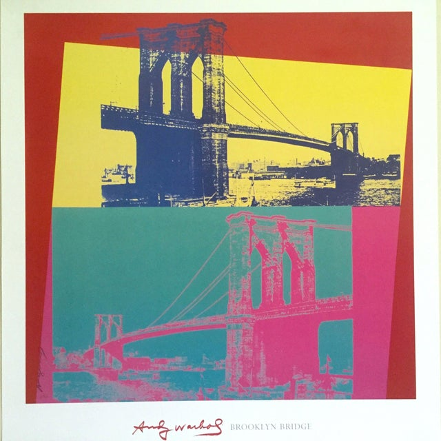 """Andy Warhol Andy Warhol Foundation Vintage Pop Art Lithograph Poster """" Brooklyn Bridge """" 1983 For Sale - Image 4 of 9"""