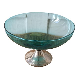 Turquoise Glass & Sterling Pedestal Bowl