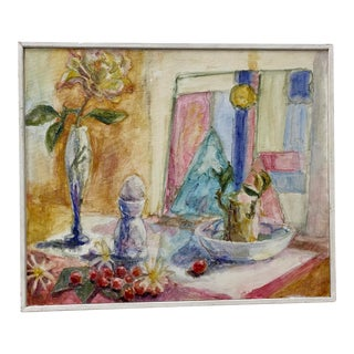 """Sally Salan (Americanth C.) """"Still Life With Glass Objects"""" Original Oil Painting C.1991 For Sale"""