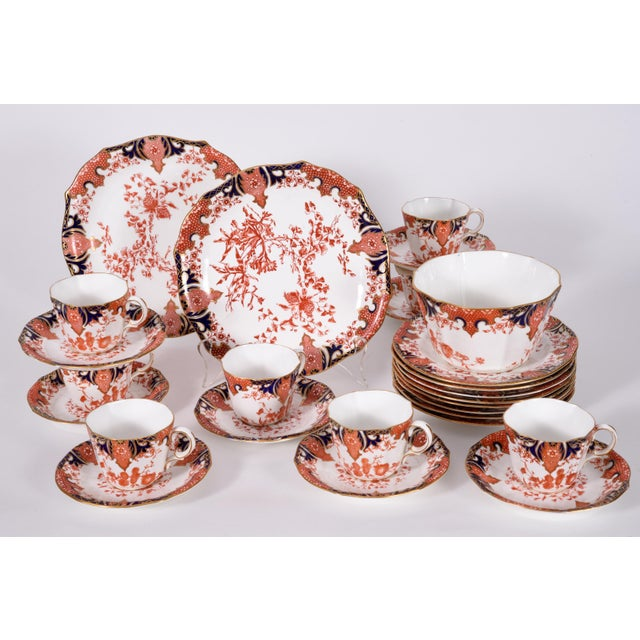 Antique English Royal Crown Derby Porcelain Luncheon Set - 27 Piece Set For Sale - Image 12 of 13