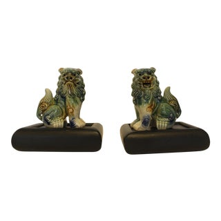 1970s Glazed Ceramic Foo Dog Figurines With Wooden Night Light Stand - a Pair For Sale