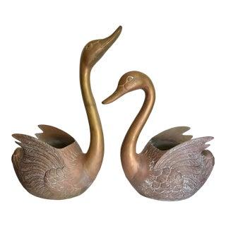 Monumental Brass Swan Planter Sculpture Pair For Sale