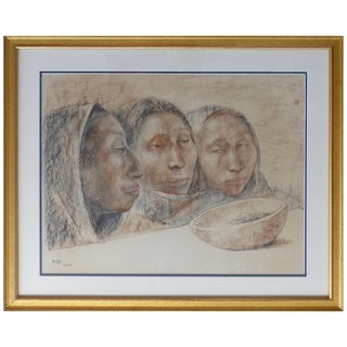 Francisco Zúñiga Charcoal and Pastel Drawing on Paper, 1964 For Sale