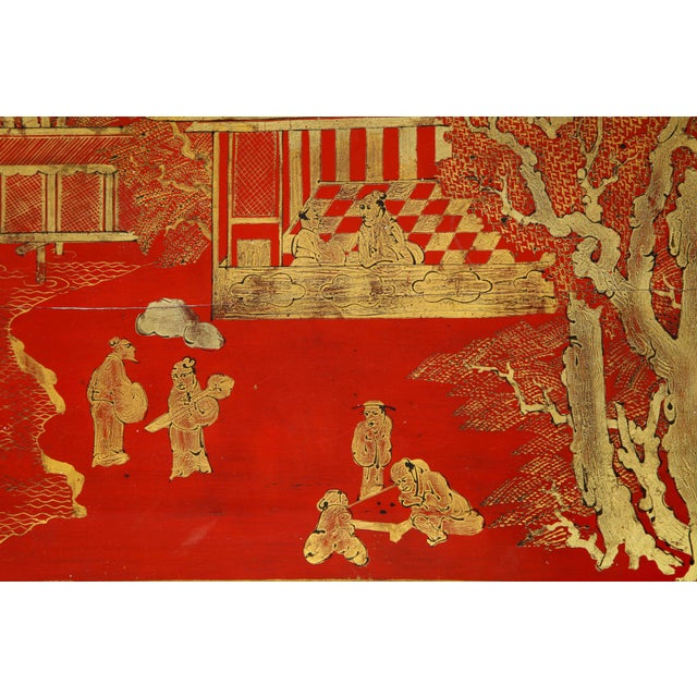 Vintage Hand Painted Red Lacquered Chinoiserie Cocktail/Coffee Table For Sale In New York - Image 6 of 11