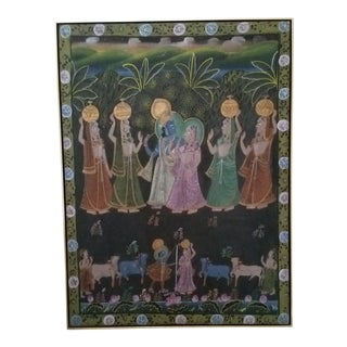 """Large Indian """"Pichwai"""" Painting Professionally Framed For Sale"""
