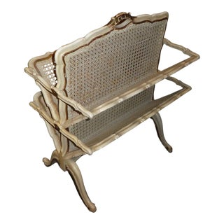 Vintage Italian Louis 16th Style Woven Cane Magazine Rack For Sale