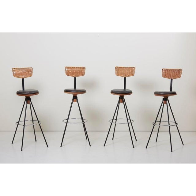 A house bar and four bar stools, designed by Prof. Herta-Maria Witzemann for a villa near Tübingen (Germany), manufactured...