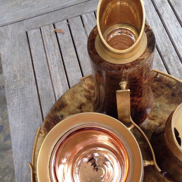 Aldo Tura Aldo Tura Italian Lacquered Goatskin Brass Barware - Set of 4 For Sale - Image 4 of 10